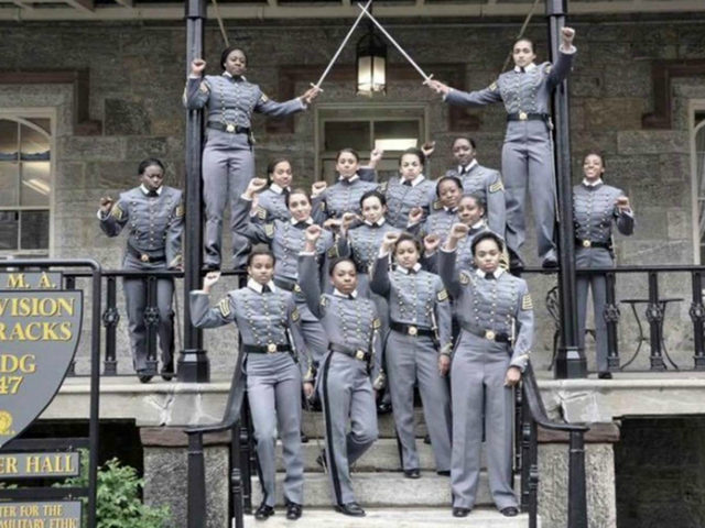 Supporters of the West Point cadets say they were simply celebrating their forthcoming graduation as a shared accomplishment, like a sports team raising helmets after a win. Photograph: AP