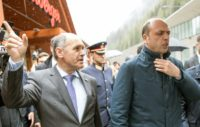 Austrian Interior Minister Wolfgang Sobotka (2ndL) and the Interior Minister of Italy Angelino Alfano visit Gries am Brenner on May 13, 2016