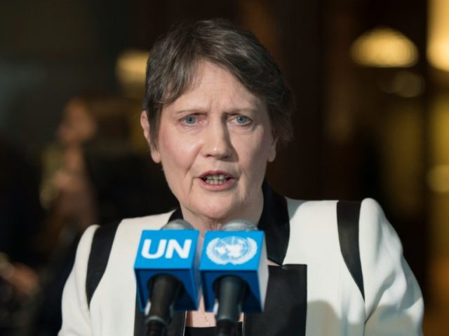 Helen Clark, former Prime Minister of New Zealand and administrator of the United Nations Development Program, speaks with reporters after being interviewed as a candidates for the position of UN Secretary-General April 14, 2016 at the United Nations
