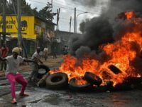 Kenyan tiot police used tear gas and water cannon to disperse protesters in the western town of Siaya Monday who also tried to gather in the capital Nairobi (pictured)