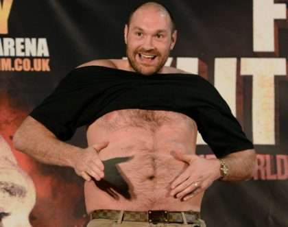 British heavyweight boxer Tyson Fury during a press conference in Manchester, England on April 27, 2016