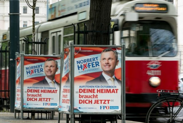 Election campaign posters for presidential candidate Norbert Hofer from the far-right Freedom Party of Austria (FPOE)