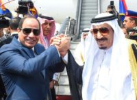 Egyptian President Abdel Fattah al-Sisi (left) sparked protests after he handed over two islands to Riyadh after trade talks with Saudi King Salman in April 2016