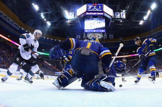 Brian Elliott of the St. Louis Blues tends goal during the second period against the San Jose Sharks in Game One of the Western Conference Final on May 15, 2016 in St Louis, Missouri