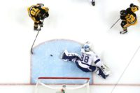 Patric Hornqvist of the Pittsburgh Penguins scores a goal past Andrei Vasilevskiy of the Tampa Bay Lightning during the 2016 NHL Stanley Cup Playoffs on May 22, 2016 in Pennsylvania