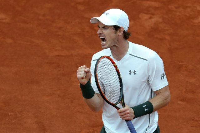 Great Britain's Andy Murray reacts during his men's second round match against France's Mathias Bourgue at the French Open in Paris on May 25, 2016