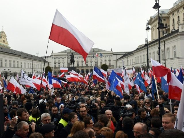 Thousands of people protested in front of the presidential palace in Warsaw in March over changes to the constitutional court