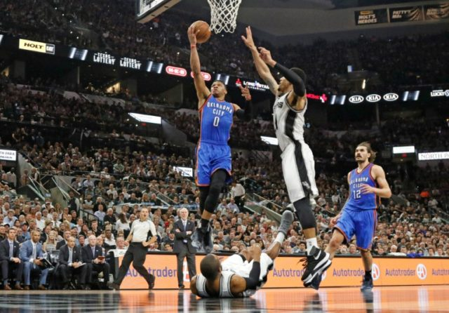 Oklahoma City Thunder's Russell Westbrook (L) scored 35 points during the game against the San Antonio Spurs