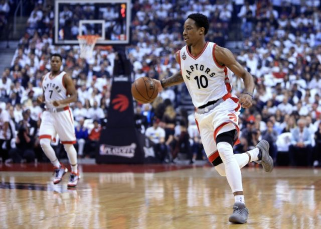 DeMar DeRozan of the Toronto Raptors made two free throws with 21 seconds left and two more with nine seconds remaining to clinch a win over the Miami Heat during the 2016 NBA Playoffs