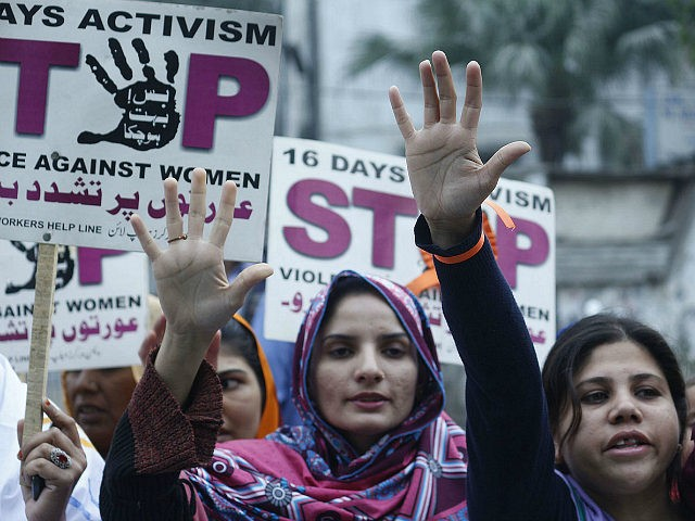 "LAHORE, PAKISTAN - DECEMBER 12, 2015 - Pakistani activists of women workers hold placards and shout slogans during a protest mark as ""16 days activism Stop Violence against Women"" in Lahore. (Photo by Rana Sajid Hussain / Pacific Press) *** Please Use Credit from Credit Field *** (Sipa via AP …"