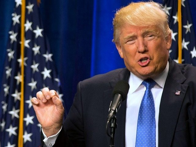 Republican presidential candidate Donald Trump speaks at Saint Anselm College Monday, June 13, 2016, in Manchester, N.H.