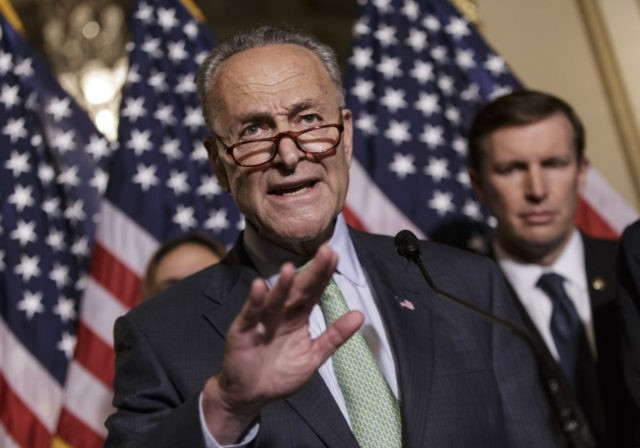 Sen. Charles Schumer, D-N.Y., joined by, Sen. Chris Murphy, D-Conn., criticizes Republicans as allies of the gun lobby as Democratic senators call for gun control legislation in the wake of the mass shooting in an Orlando LGBT nightclub this week, Thursday, June 16, 2016, during a news conference on Capitol …