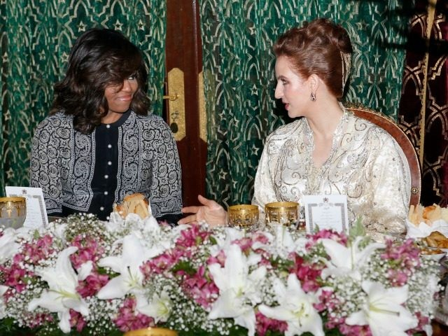 Morocco's Princess Lalla Salma, wife of King Mohammed VI, right, and U.S first lady Michelle Obama, attend an Iftar dinner at the King Palace in Marrakech, Morocco, Tuesday, June 28, 2016. U.S. First Lady Michelle Obama was visiting Morocco to promote education for girls in the North African kingdom, where …