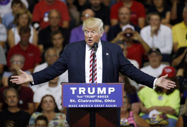 Republican presidential candidate Donald Trump speaks during a rally at Ohio University Eastern Campus in St. Clairsville, Ohio, Tuesday, June 28, 2016. (AP Photo/Patrick Semansky)