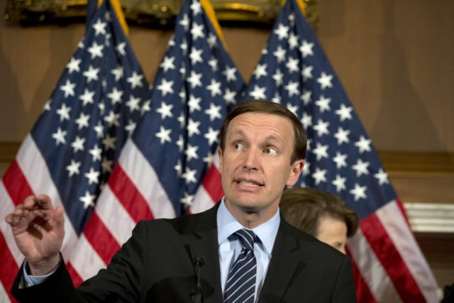 Sen. Chris Murphy, D-Conn., speaks during a media availability on Capitol Hill, Monday, June 20, 2016 in Washington. A divided Senate blocked rival election-year plans to curb guns on Monday, eight days after the horror of Orlando's mass shooting intensified pressure on lawmakers to act but knotted them in gridlock …