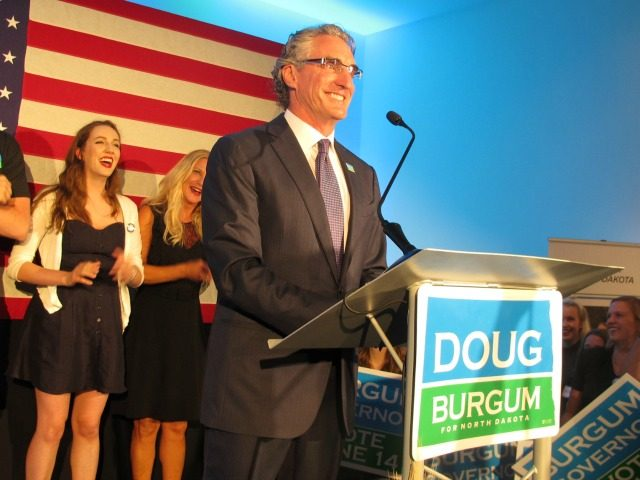 Republican governor candidate Doug Burgum talks to supporters at an art gallery in downtown Fargo, N.D., after Burgum won the GOP primary vote on Tuesday, June 14, 2016. Burgum, a Fargo businessman, defeated Attorney General Wayne Stenehjem, who was endorsed at the state Republican Party convention. (