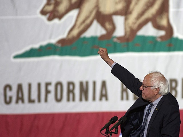Democratic presidential candidate Senator Bernie Sanders raises his fist at his California primary election night rally on June 7, 2016 in Santa Monica, California. Hillary Clinton held an early lead in today's California primary. (Photo by David McNew/Getty Images)