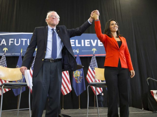 Bernie Sanders and Tulsi Gabbard (Evan Vucci / Associated Press)