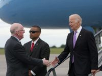 Vice President Joe Biden arrives at Dublin International Airport and is greeted by Charles Flanagan, Minister for Foreign Affairs and Trade, in Dublin, Ireland, June 21, 2016. (Official White House Photo by David Lienemann)