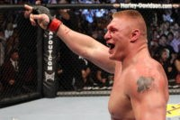 LAS VEGAS - JULY 03: Brock Lesnar reacts after his second round submission victory against Shane Carwin to win the UFC Heavyweight Championship Unification bout at the MGM Grand Garden Arena on July 3, 2010 in Las Vegas, Nevada. (Photo by Josh Hedges/Zuffa LLC/Zuffa LLC via Getty Images)