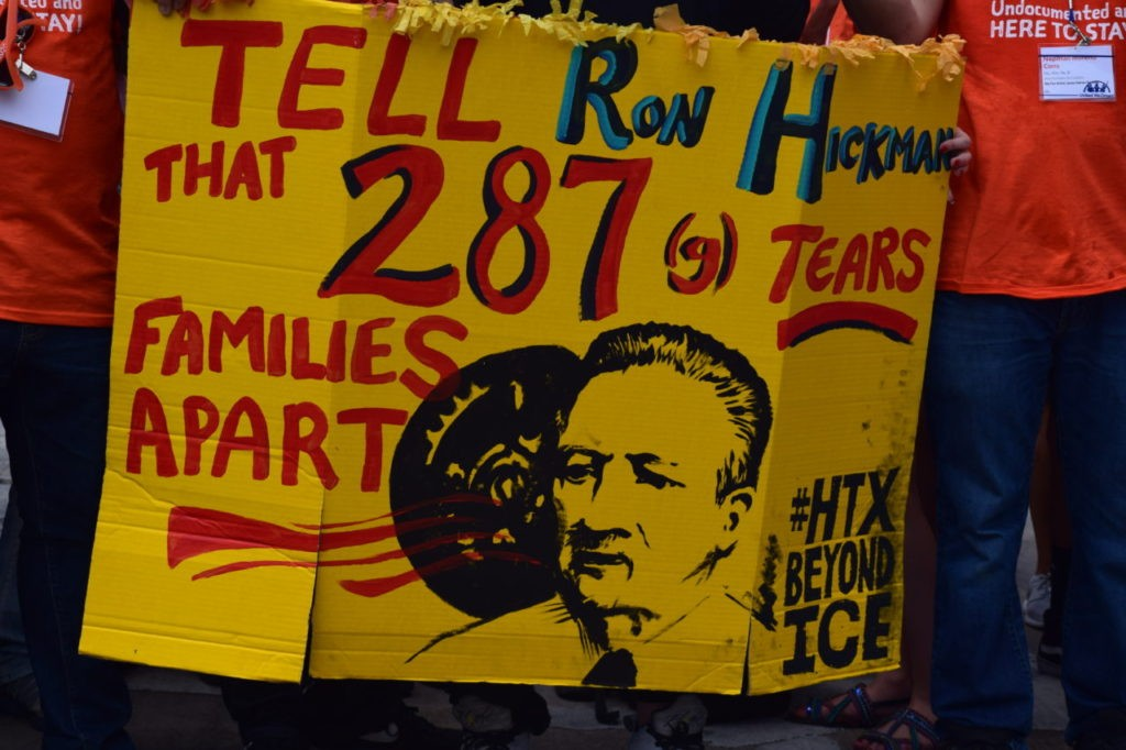 Protesters claim 287(g) rips families apart. (Breitbart Texas Photo by Bob Price)