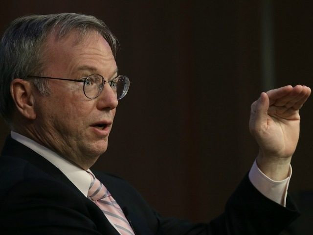 Google Executive Chairman Eric Schmidt speaks at the American Enterprise Institute March 18, 2015 in Washington, DC. Schmidt took part in a discussion on 'The Disrupters: Technology and the Case for Optimism.' (Photo by Win McNamee/Getty Images)