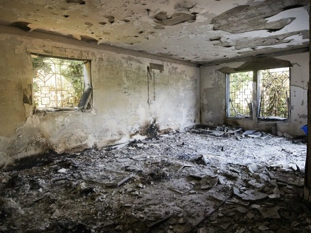 A picture shows the damage inside the burnt US consulate building in Benghazi on September 13, 2012, following an attack on the building late on September 11 in which the US ambassador to Libya and three other US nationals were killed. Libya said it has made arrests and opened a …