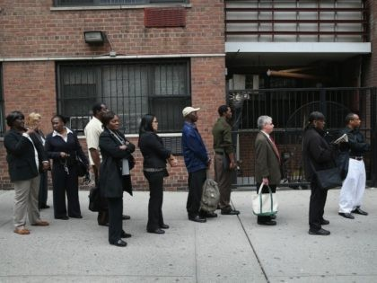 Hundreds of people line up to attend a job fair on April 18, 2013 at the Holiday Inn in Midtown in New York City. The event was held by National Career Fairs which expected some 700 job seekers would come to meet 20 potential employers. (Photo by