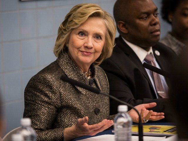 Former Secretary of State Hillary Clinton attends a round table conversation and press conference on April 1, 2015 in New York City.