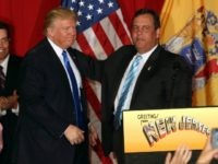 Republican presidential candidate Donald Trump stands on stage with New Jersey Governor Chris Christie at the Lawrenceville National Guard Armory in Trump's first public campaign appearance in New Jersey on May 19, 2016 in Lawrenceville, New Jersey. The appearance with New Jersey Governor Chris Christie is a $200 per head event with proceeds going towards helping Christie, a Trump ally, pay off debt from his own presidential campaign. (Photo by