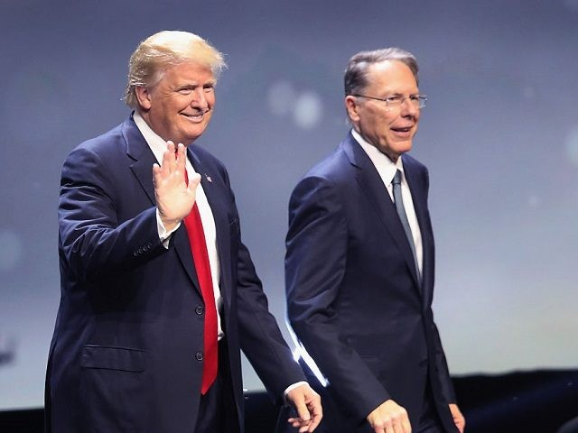 Republican presidential candidate Donald Trump is introduced with Wayne LaPierre, Executive Vice President of the National Rifle Association, at the National Rifle Association's NRA-ILA (Institute for Legislative Action) Leadership Forum during the NRA Convention at the Kentucky Exposition Center on May 20, 2016 in Louisville, Kentucky. The NRA endorsed Trump …
