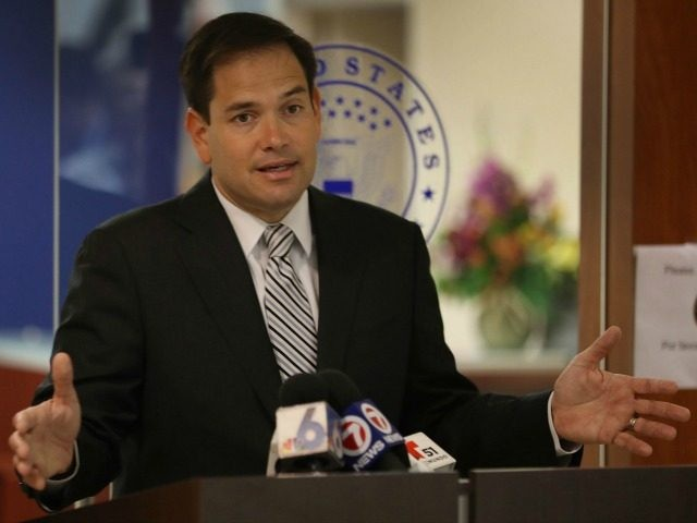 Sen. Marco Rubio (R-FL) speaks to the media as he urges the United States Congress to pass funding to combat the mosquito-borne Zika virus on June 3, 2016 in Doral, Florida.