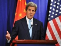 Secretary of State John Kerry delivers a speech on a press conference during the Eighth Round of US - China Strategic and Economic Dialogues & the Seventh Round of US - China High-Level Consultation on People-to-People Exchange on June 7, 2016 in Beijing, China.
