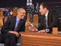 President Barack Obama speaks with Jimmy Fallon on the set of the 'The Tonight Show Starring Jimmy Fallon' on June 8, 2016 in New York City