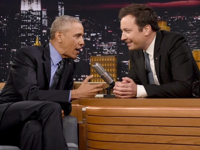 President Barack Obama speaks with Jimmy Fallon on the set of the 'The Tonight Show Starring Jimmy Fallon' on June 8, 2016 in New York City. President Obama is the first sitting president to appear on the show. (Photo by