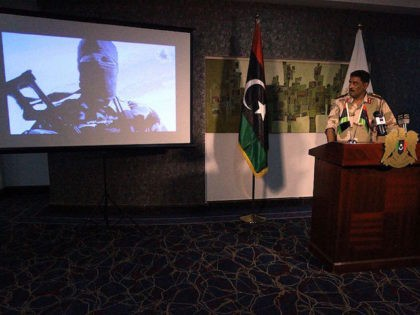 Ahmed al-Mesmari, a spokesman of Libya's opposition armed forces which are made up of militias and some units of the national army based in the east of the country, addresses the media on June 8, 2016 in the coastal city of Benghazi. Libya's unity government said its forces captured two …