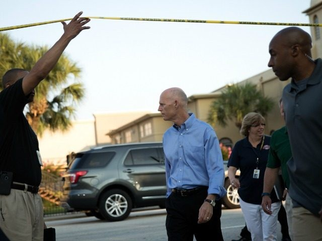 : Florida Governor Rick Scott arrives for a press conference on South Orange Avenue down the street from Pulse Nightclub, June 13, 2016 in Orlando, Florida.