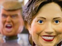 Rubber masks in the likeness of Republican presidential candidate Donald Trump, left, and Democratic presidential candidate Hillary Clinton are seen in this arranged photograph taken at the Ozawa Studios Inc. factory on June 14, 2016 in Saitama, Japan.