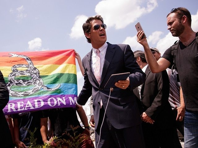 ORLANDO, FL - JUNE 15: Milo Yiannopoulos, a conservative columnist and internet personality, holds a press conference down the street from the Pulse Nightclub, June 15, 2016 in Orlando, Florida. Yiannopoulos was briefly banned from Twitter on Wednesday. The shooting at Pulse Nightclub, which killed 49 people and injured 53, …