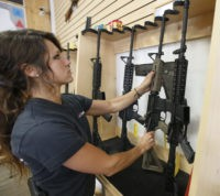 SPRINGVILLE, UT - JUNE 17:  Courtney Manwaring puts away an AR-15 semi-automatic gun at Action Target on June 17, 2016 in Springville, Utah. Semi-automatics are in the news again after the nightclub shooting in Orlando F;lord last week. (Photo by George Frey/Getty Images)