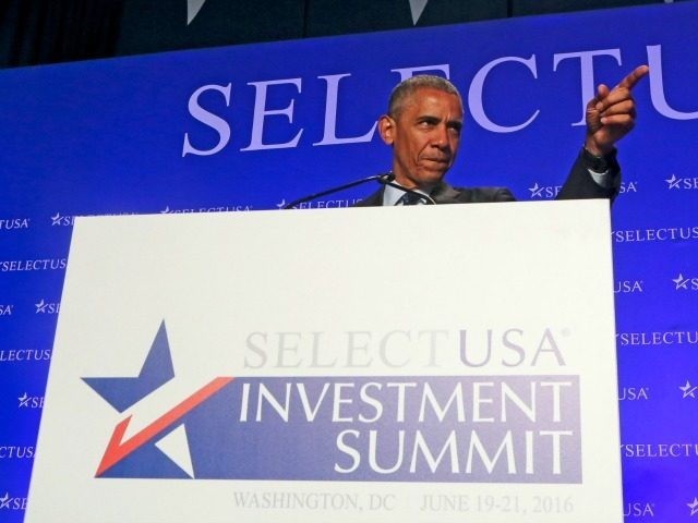 Barack Obama speaks at the SelectUSA Investment Summit at the Washington Hilton on June 20, 2016 in Washington