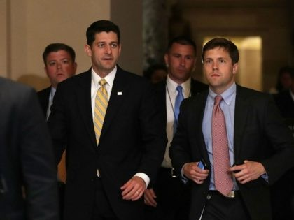 Speaker of the House Rep. Paul Ryan (R-WI) (C) arrives for votes as House Democrats stages a sit-in on the House floor June 22, 2016 on Capitol Hill in Washington, DC.