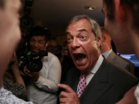 Leader of the United Kingdom Independence Party (UKIP), Nigel Farage (C) reacts at the Leave.EU referendum party at Millbank Tower in central London on June 24, 2016, as results indicate that it looks likely the UK will leave the European Union (EU). Top anti-EU campaigner Nigel Farage said he was …