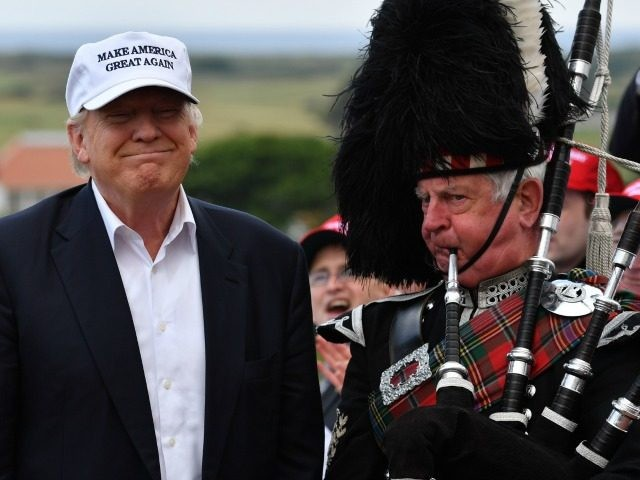 AYR, SCOTLAND - JUNE 24: Presumptive Republican nominee for US president Donald Trump speaks as he reopens his Trump Turnberry Resort on June 24, 2016 in Ayr, Scotland. (Photo by)