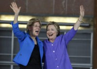 CINCINNATI, OH- JUNE 27:  Democratic Presidential candidate Hillary Clinton (R) and U.S. Sen Elizabeth Warren (D-MA) wave to the crowd before a campaign rally at the Cincinnati Museum Center at Union Terminal June 27, 2016 in Cincinnati, Ohio. Warren is helping Clinton campaign in Ohio.   (Photo by John Sommers II/Getty Images)