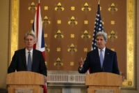 "British Foreign Secretary Philip Hammond (L) and US Secretary of State John Kerry (R) hold a joint press conference after their meeting at the Foreign and Commonwealth Office (FCO) in central London on June 27, 2016. US Secretary of State John Kerry urged EU members not to ""lose their head"" over the referendum. ""I think it is absolutely essential that we stay focused on how, in this transitional period, nobody loses their head, nobody goes off half cocked, people don't start ginning up scatterbrained or revengeful premises,"" he said before heading to London.  / AFP / Daniel Leal-Olivas/AFP        (Photo credit should read DANIEL LEAL-OLIVAS/AFP/AFP/Getty Images)"