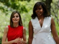 In this handout image provided by the Spanish Royal Palace, Queen Letizia of Spain and Michelle Obama are seen at Zarzuela Palace on June 30, 2016 in Madrid, Spain. (Photo by