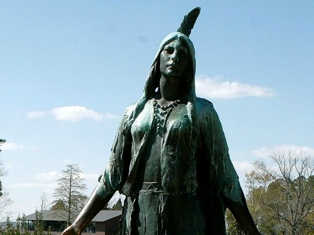 A statue of Pocahontas located on the grounds of historic Jamestowne on the banks of the James River April 5, 2006 in Jamestowne, Virginia.