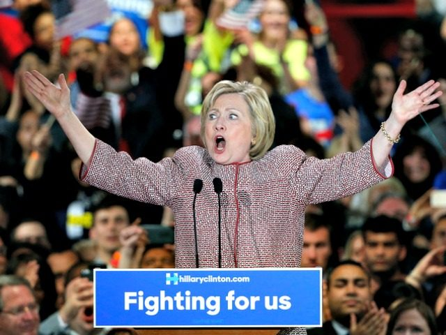 Democratic presidential candidate Hillary Clinton speaks to supporters after winning the New York state primary election, Tuesday, April 19, 2016, in New York. (AP Photo/Kathy Willens)