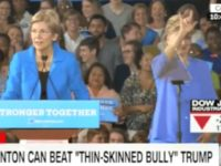 Hillary Throws Hand Symbol During Raucous Rally with Elizabeth Warren